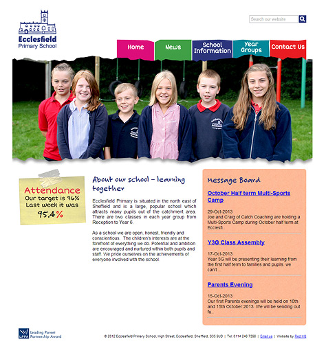 Ecclesfield Primary School Website Screenshot