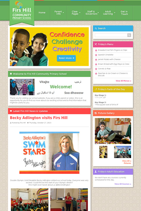 Firs Hill Primary School Website Screenshot